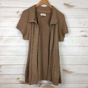 Short Sleeve Flyaway Cardigan Ribbed & Cable Knit